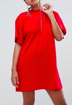 Missguided Zip Front T-Shirt Dress