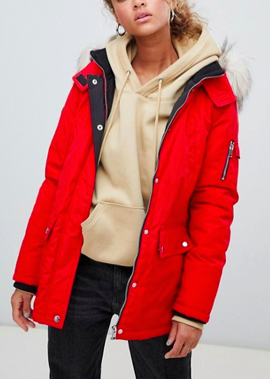 New Look Faux Fur Hooded Parka