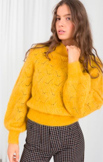 Stories Eyelet Knit Wool Blend Sweater