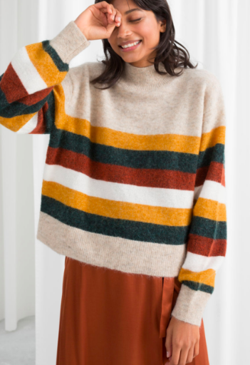 Stories Striped Wool Blend Sweater