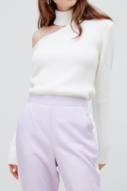 ASOS DESIGN sweater with aysmmetric cut out and high neck