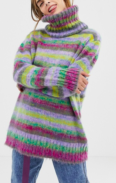 COLLUSION space dye sweater with roll neck