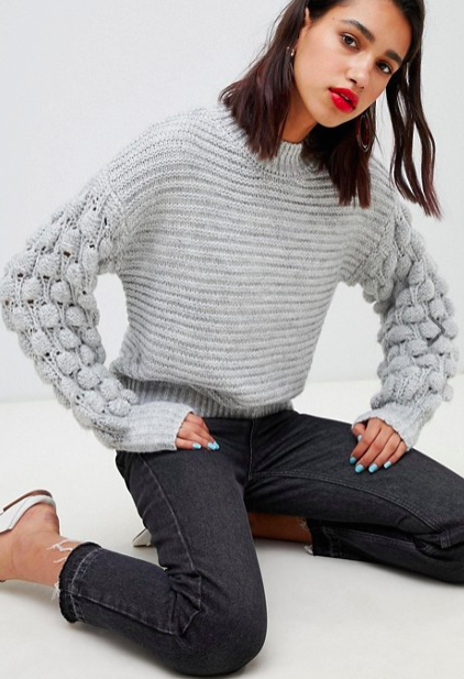 River Island sweater with bobble sleeves in gray
