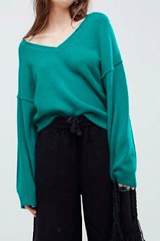 ASOS DESIGN fluffy sweater with v neck