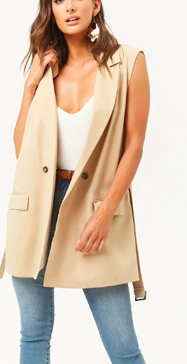Forever 21  Longline Double-Breasted Vest