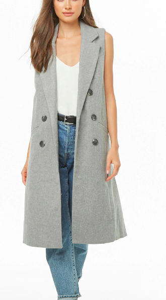 Forever 21 Double-Breasted Longline Vest $48.00
