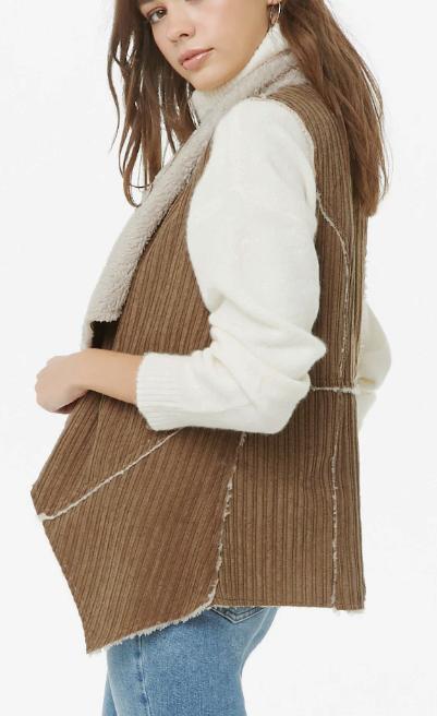 Forever 21 Faux Fur & Corduroy Drapey Vest