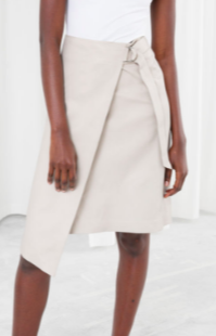 Stories Leather Belted Wrap Skirt