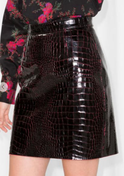 Stories Croco Leather Skirt