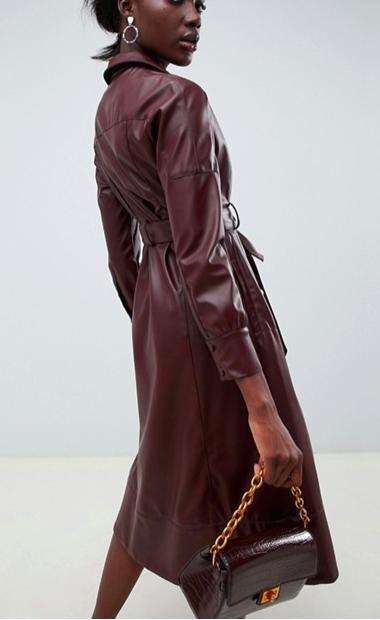 ASOS WHITE PU leather midi dress
