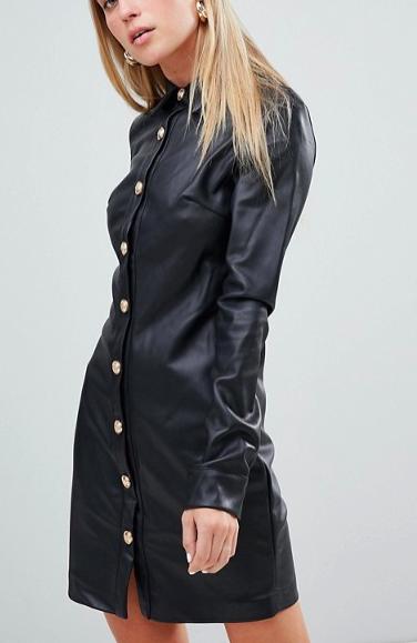 Forever Unique Leather Shirt Dress
