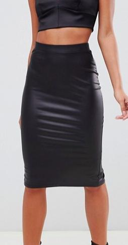 ASOS DESIGN sculpt me leather look pencil skirt