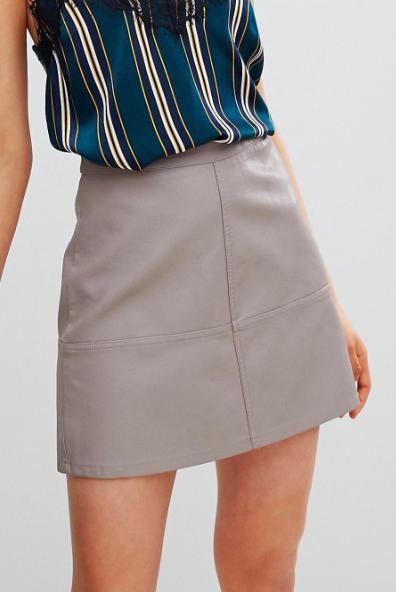New Look Leather Look Mini Skirt