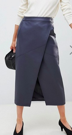ASOS DESIGN leather look wrap midi skirt with buckle belt