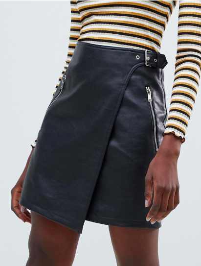 Warehouse faux leather a-line wrap mini skirt in black