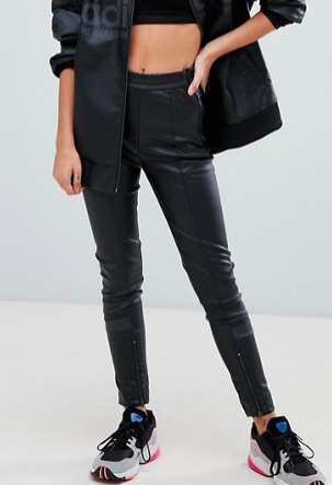 adidas Originals Aa-42 Faux Leather Pants In Black