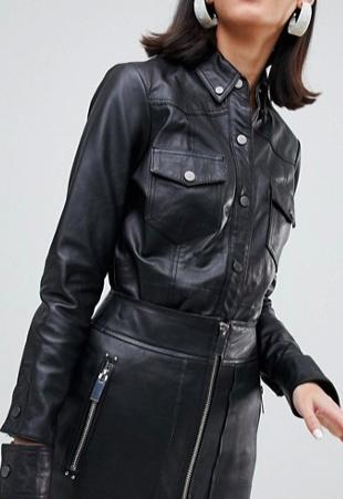 River Island studio leather shirt in black
