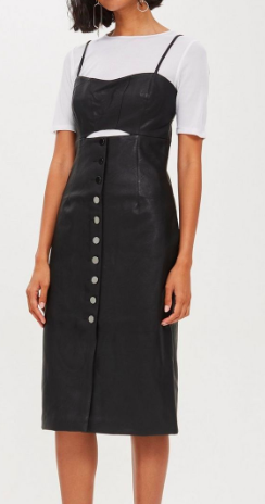Topshop Leather Look Slip Dress