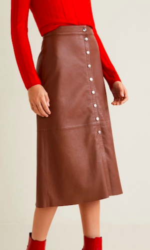 Mango Buttons leather skirt