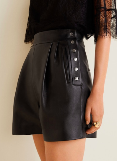 Mango High-waist leather shorts