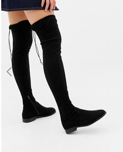 ASOS DESIGN Kaska flat studded over the knee boots