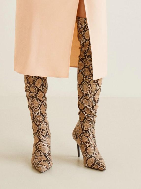 Mango Snake effect high-leg boots