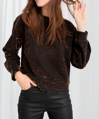 STORIES Animal Print Pullover