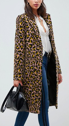 ASOS DESIGN leopard coat
