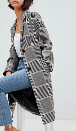 ASOS DESIGN coat in colored check