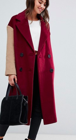 ASOS DESIGN coat with contrast blocking
