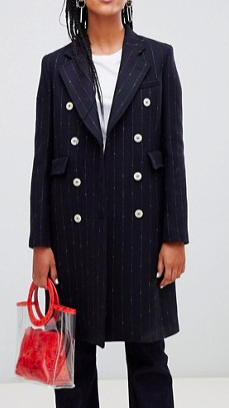 Mango pinstripe button front tailored coat in black
