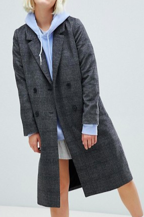 Monki check tailored coat in gray