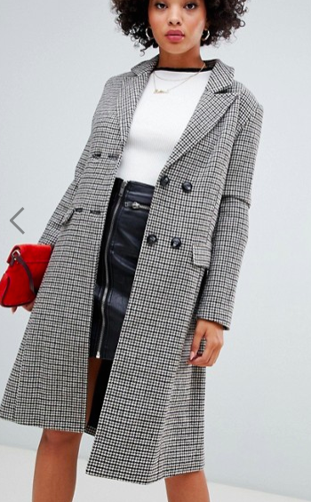 Missguided double breasted longline formal coat in heritage check