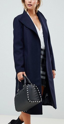 Fashion Union Funnel Neck Coat With Belt