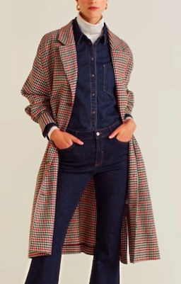 Mango Check unstructured coat