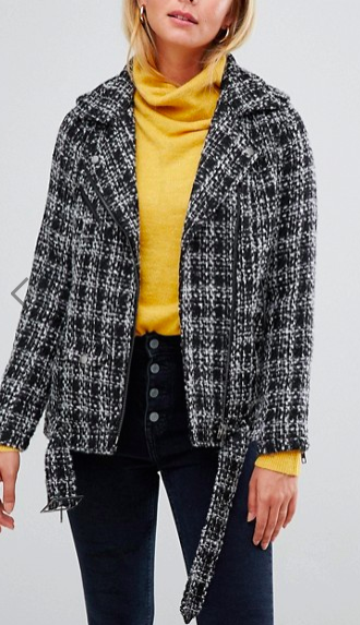 Only Lucia Check Tweed Biker