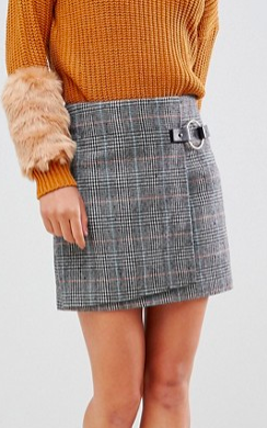 Willow & Paige tweed mini skirt with buckle detail