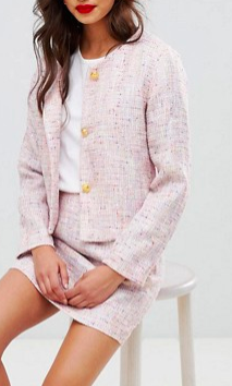 UNIQUE21 tweed fitted blazer & mini skirt in tweed two-piece