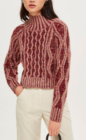 Topshop Pleated Tweed Cable Jumper