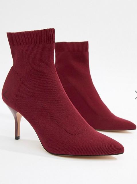 Stradivarius heeled ankle boot in burgundy