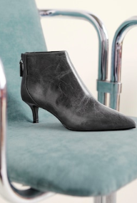Mango Leather pointed ankle boots