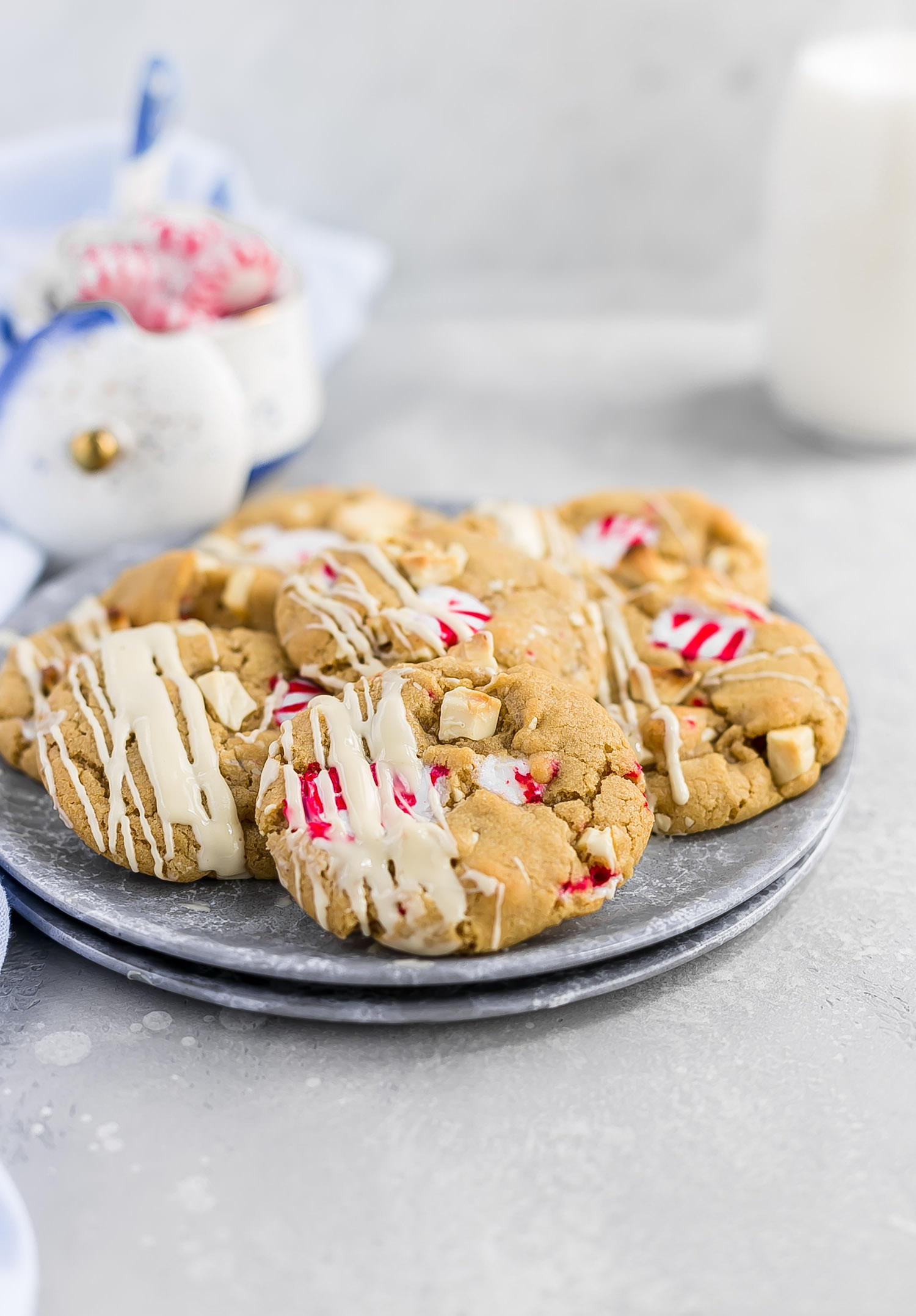 Brown Butter Peppermint White Chocolate Cookies: soft, chewy brown butter cookies packed with white milk chocolate and peppermint candies. Holiday perfection! | TrufflesandTrends.com