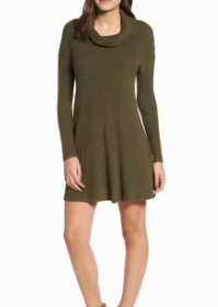 Rib Knit Cowl Neck Dress BP.