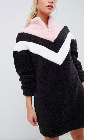 ASOS DESIGN chevron borg sweater dress with zip funnel neck