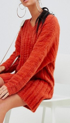 Missguided v neck fluffy knitted sweater dress