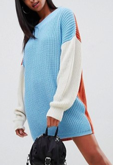 PrettyLittleThing color block sweater dress in multi