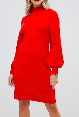 Fashion Union Knitted Dress With Balloon Sleeves