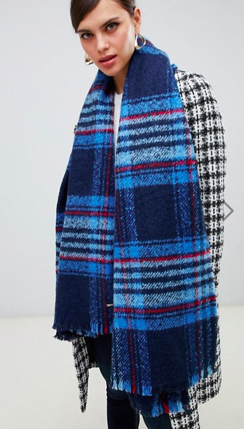 River Island oversized knitted scarf in blue check
