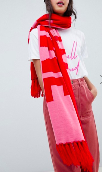 Miss Selfridge knitted slogan scarf in pink & red