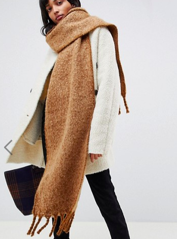 ASOS DESIGN fluffy two tone long scarf with tassels